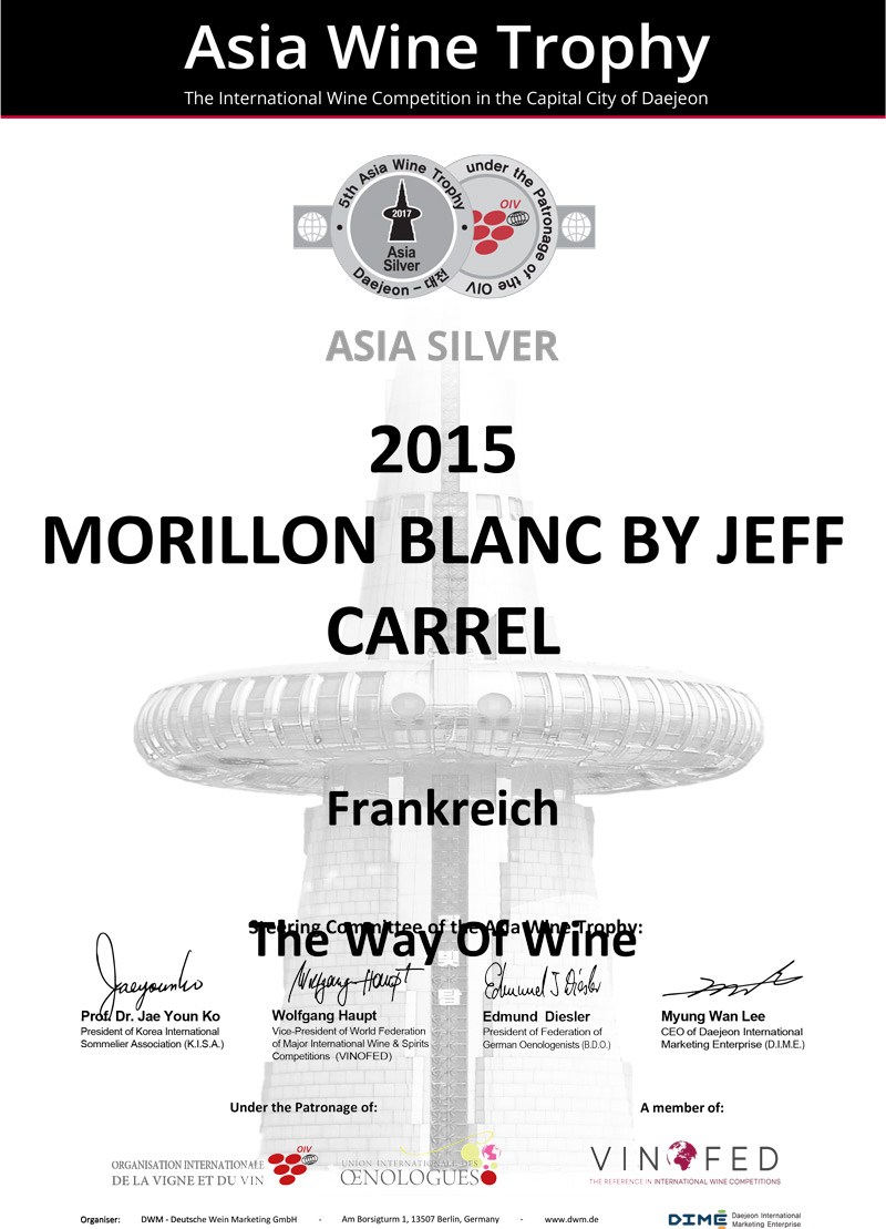 Asia Wine Trophy 2017 Medaille Argent Morillon Blanc By Jeff Carrel 15